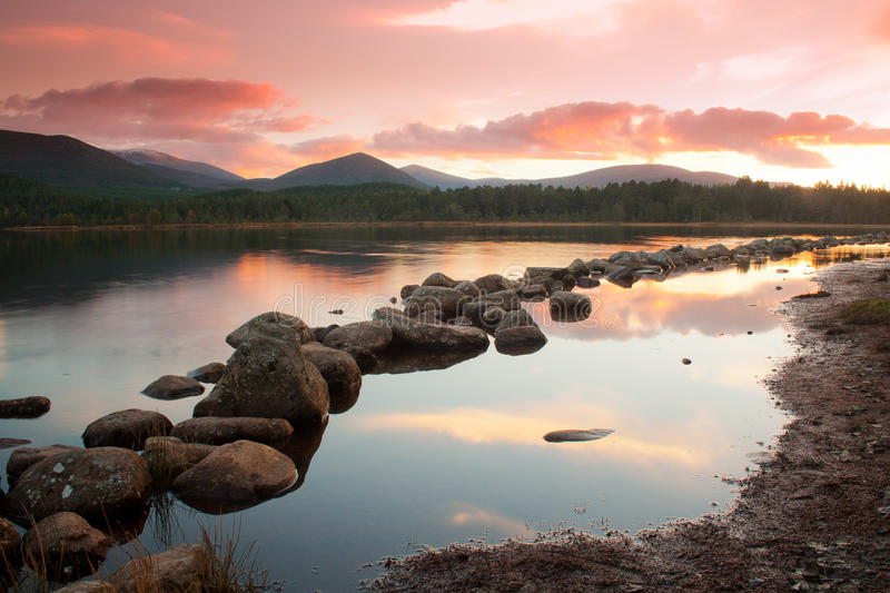 Loch Morlich at sunset stock photography