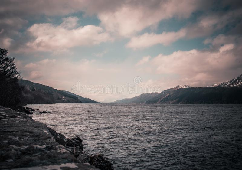 Loch Ness on a cloudy day royalty free stock photo