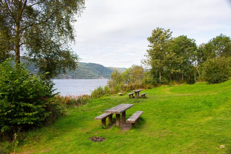 Loch Ness. Is a large, deep, freshwater loch in the Scottish Highlands extending for approximately 37 kilometres southwest of Inverness. Its surface is 16 stock photography