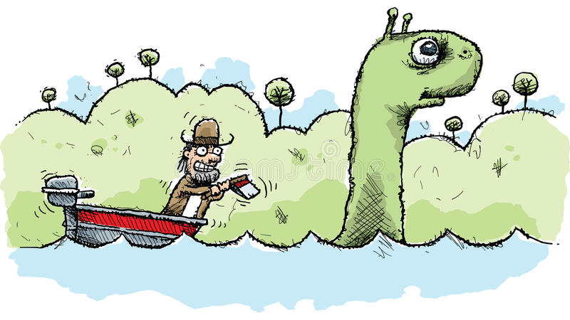Loch Ness Monster Hunter ilustração royalty free