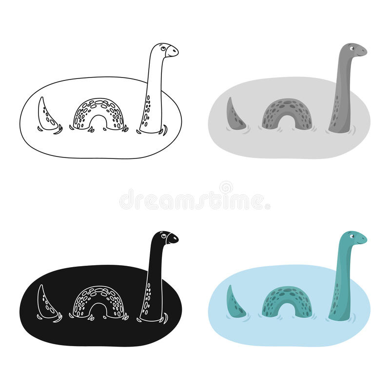 Loch Ness Monster Icon In Cartoon Style Isolated On White Background