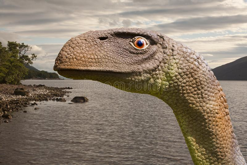 Loch Ness Monster or Nessie is a creature said to inhabit Loch Ness in the Scottish Highlands. In Scottish folklore, the Loch Ness Monster or Nessie is a royalty free stock photo