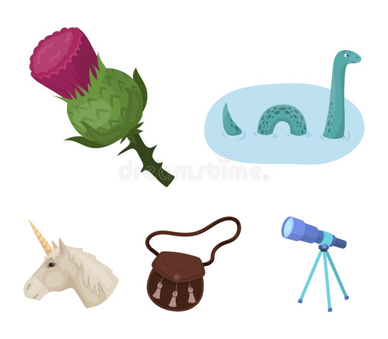 Loch Ness monster, thistle flower, unicorn, sporan. Scotland country set collection icons in cartoon style vector symbol. Stock illustration royalty free illustration