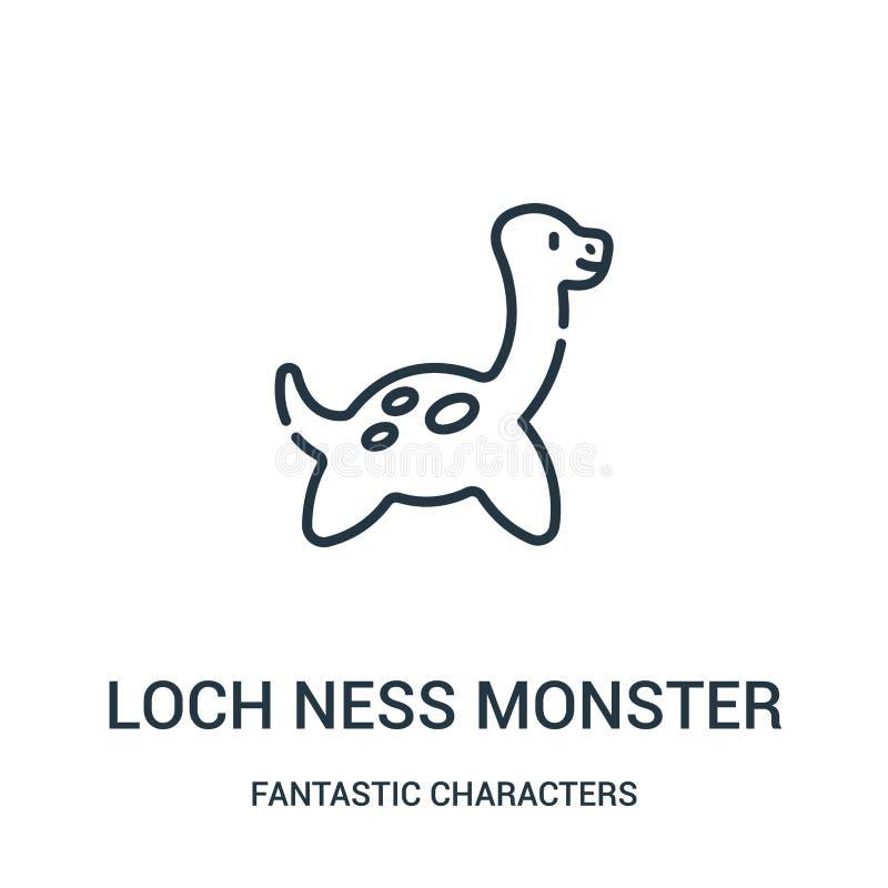 loch ness potwora ikony wektor od fantastycznych charakterów inkasowych Cienka kreskowa loch ness potwora konturu ikony wektoru i ilustracja wektor