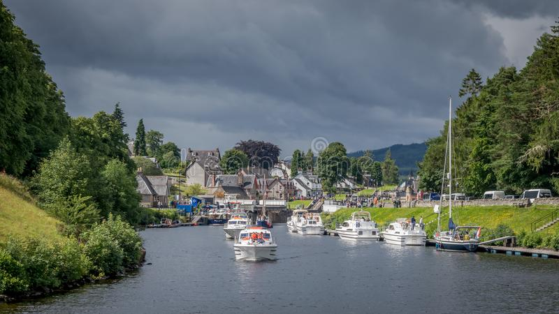 Tourist on their way to Fort Augustus at Loch Ness stock image