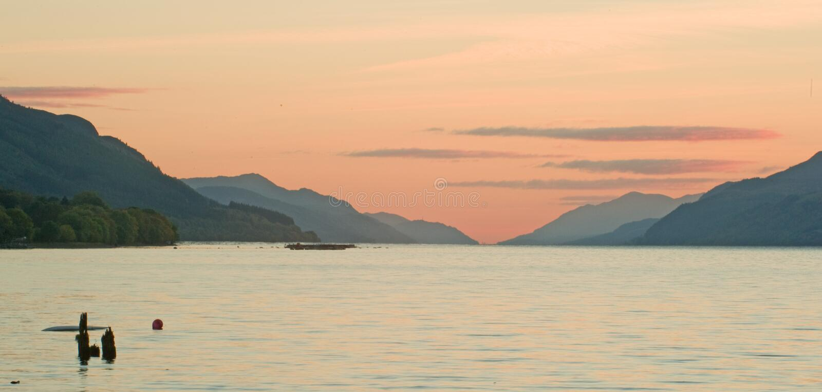 Loch Ness at sunset. royalty free stock photography