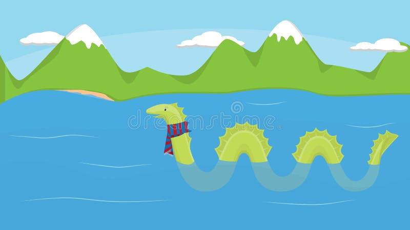 Loch Ness und Monster lizenzfreie abbildung