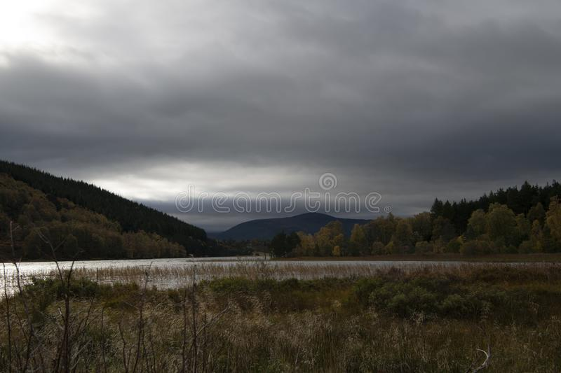 Loch Pityoulish. Autumn light over Loch Pityoulish in Speyside, Scotland. 20 October 2018 stock photo