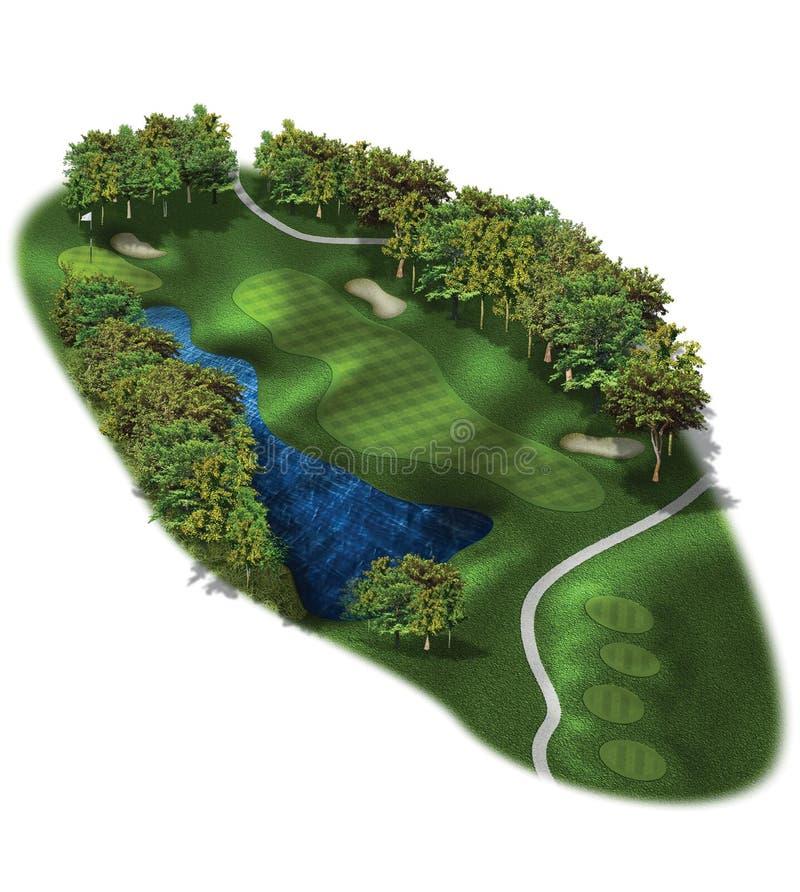 Loch-Pläne des Golfplatz-3D vektor abbildung