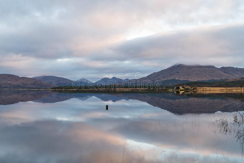 Loch Sheil. Winter morning reflections on Loch Sheil in Argyll and Bute, Scotland royalty free stock image