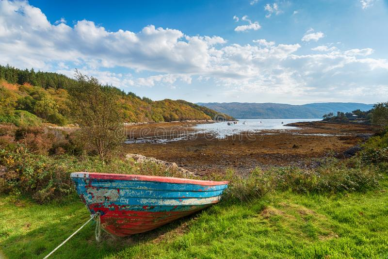 Loch Sunart in Scotland. Loch Sunart from the village of Salen on the on the Ardnamurchan peninsula in the Highlands of Scotland royalty free stock image