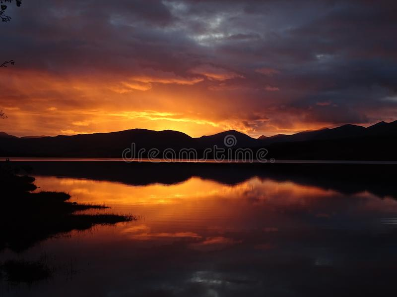 Loch Tulla zmierzch obraz royalty free