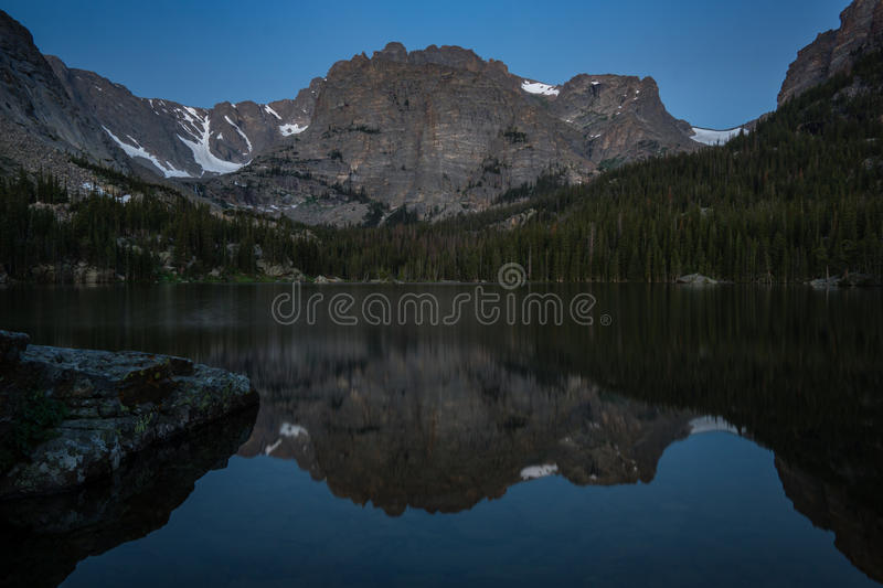 Loch Vale - Rocky Mountain National Park. An early morning on Loch Vale aka The Loch, in Rocky Mountain National Park near Estes Park, Colorado royalty free stock image