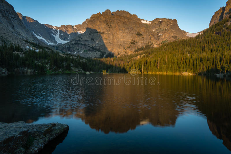 Loch Vale - Rocky Mountain National Park. An early morning on Loch Vale aka The Loch, in Rocky Mountain National Park near Estes Park, Colorado royalty free stock photography