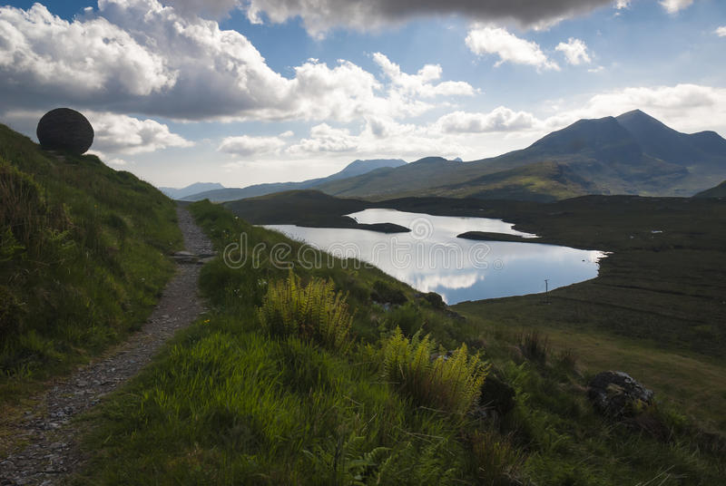 Lochan an Ais. A view across Lochan an Ais into the Inverpolly Nature Reserve royalty free stock images