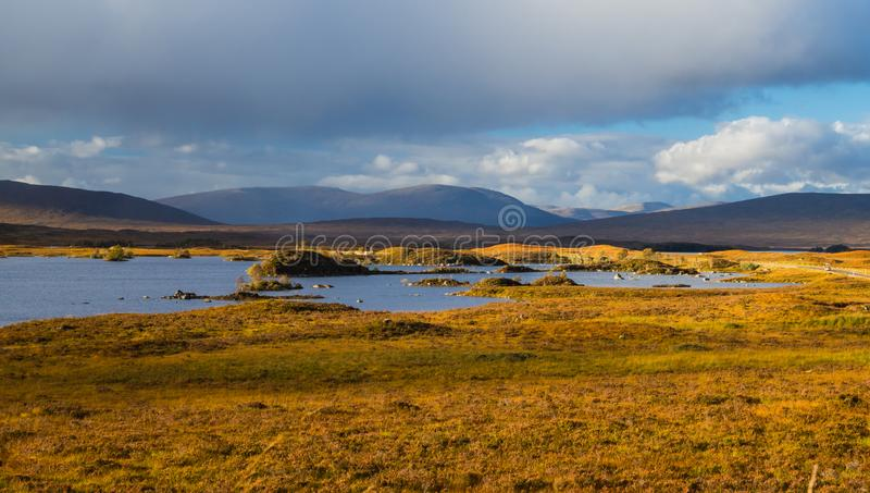 Lochan Na H-Achlaise and Rannoch Moor in Glen Coe stock photo