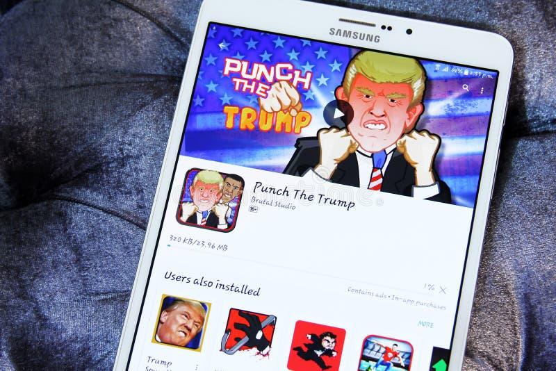 Lochen Sie die Trumpf-APP stockfotos