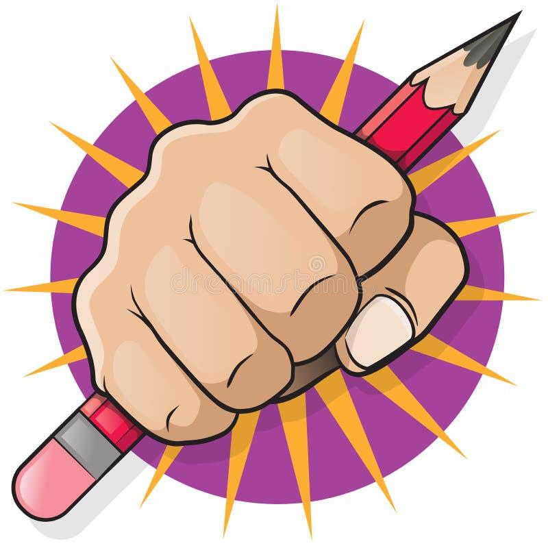 Lochende Faust mit Bleistift lizenzfreie abbildung