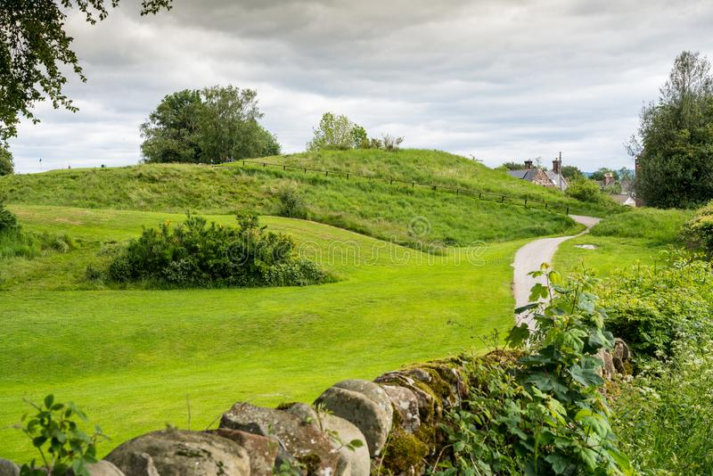 Lochmaben castle ruins and motte royalty free stock photo