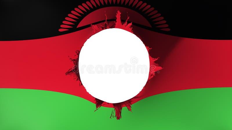 Lochschnitt in der Flagge von Malawi lizenzfreie abbildung