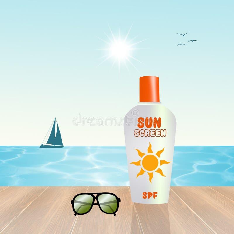 Loción de la pantalla de Sun stock de ilustración