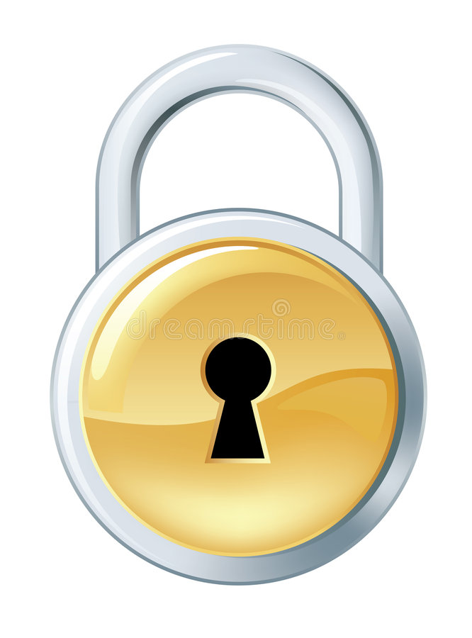 Lock. Shiny silver lock icon with golden element