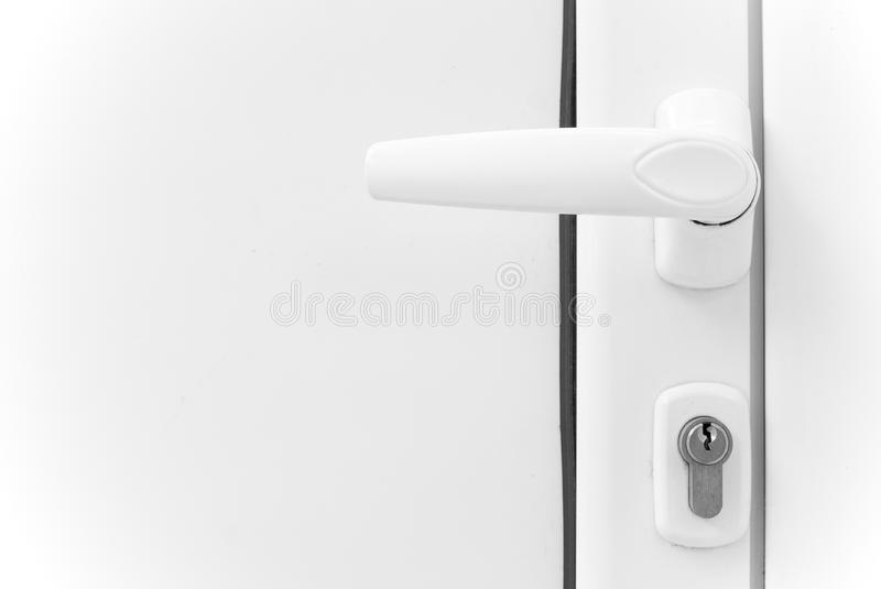 Lock on aluminum door stock photo
