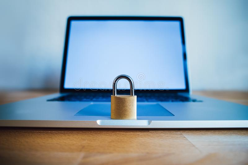 Lock as symbol for Privacy and General Data Protection Regulation. On a notebook computer stock photos