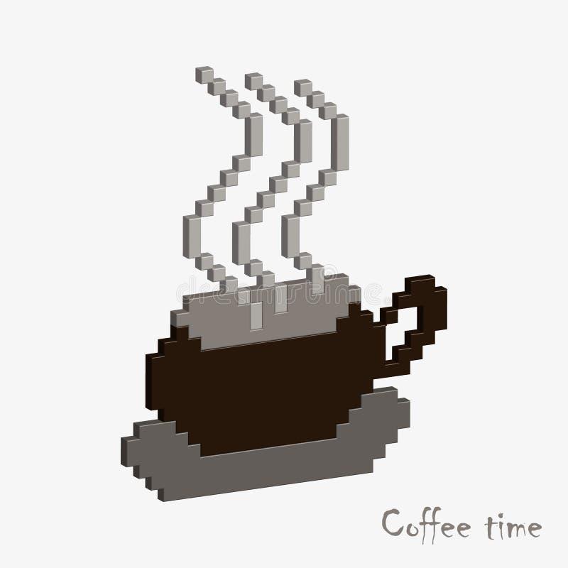 Lock av kaffe, konst för PIXEL 3D royaltyfri illustrationer