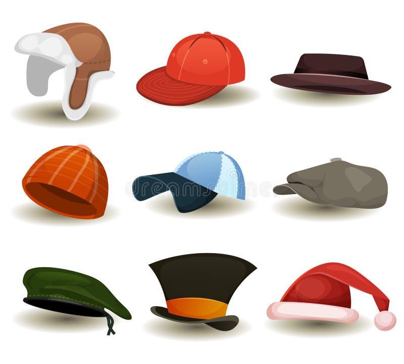 Lock, bästa hattar och annan Headwearuppsättning stock illustrationer
