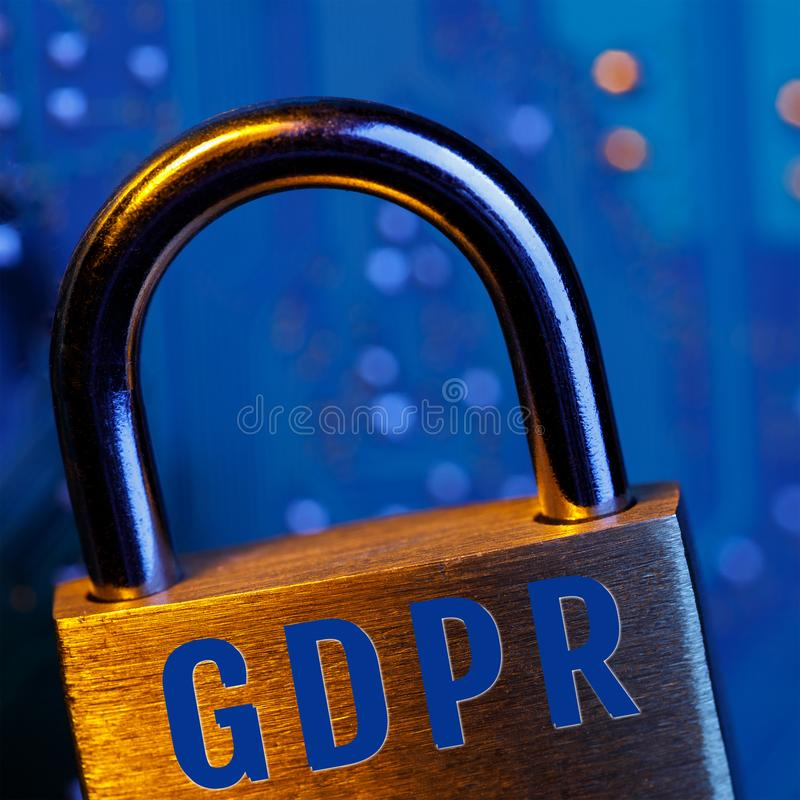Lock on the background of the chip. Symbolizing the EU General Data Protection Regulation or GDPR royalty free stock photography