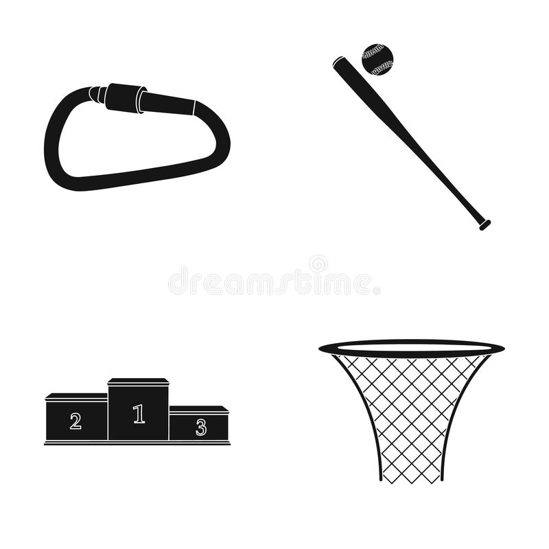 A lock for a bicycle, a ball with a ball for baseball, a podium, a basket with a basket for basketball. Sport set royalty free illustration