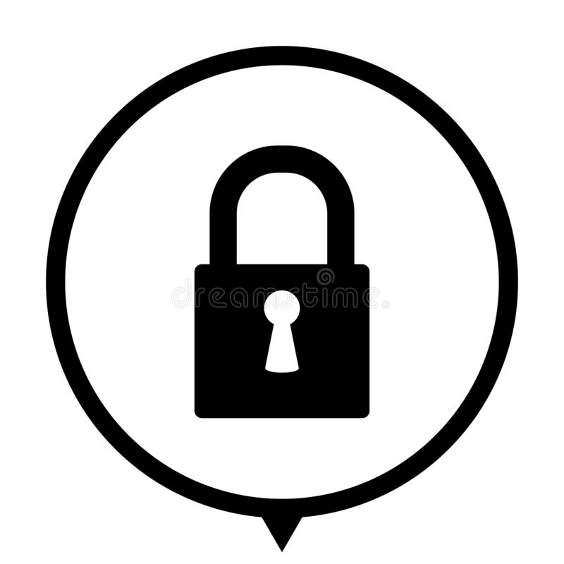 Lock - black icon for wed design royalty free illustration