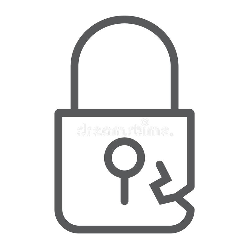 Lock breach line icon, privacy and protect, padlock sign, vector graphics, a linear pattern on a white background. Lock breach line icon, privacy and protect stock illustration