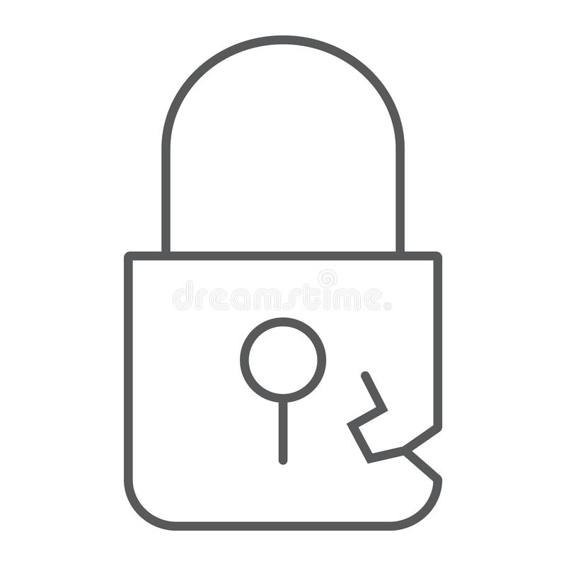 Lock breach thin line icon, privacy and protect, padlock sign, vector graphics, a linear pattern on a white background. Lock breach thin line icon, privacy and vector illustration
