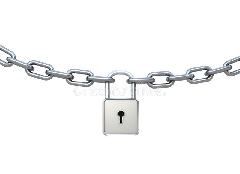 Lock and chain isolated on white.
