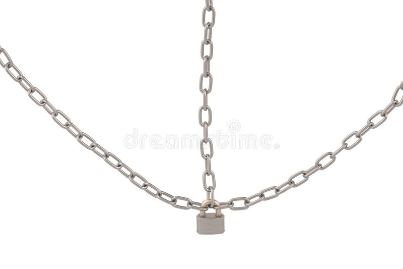 Lock and chains on white background,3D illustration. royalty free illustration