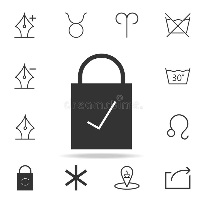 Lock checked icon. Detailed set of web icons and signs. Premium graphic design. One of the collection icons for websites, web desi stock illustration