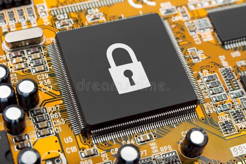 Lock on computer chip stock photos