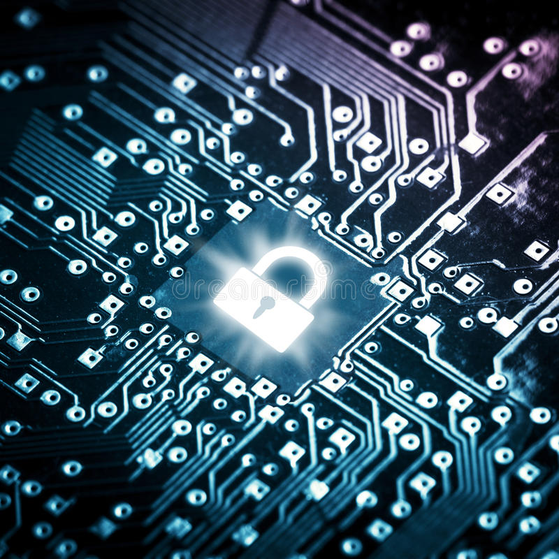 Lock on computer chip stock images