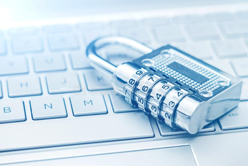 A Lock on a Computer Keyboard: Internet Security Concept Picture stock image