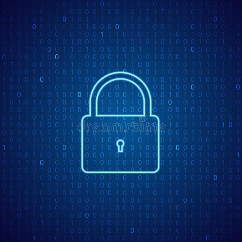 A lock on a digital background. The concept of cybersecurity. Vector illustration stock illustration