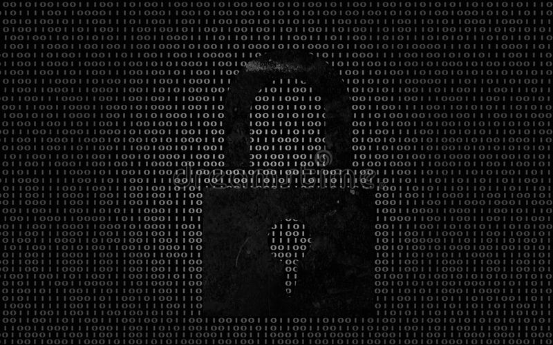 Lock on digital binary code background stock illustration