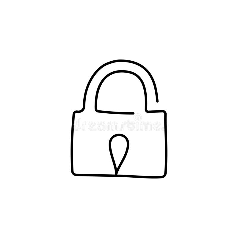 Lock, drawn by one indissoluble line on a white background. Vector Eps10 royalty free illustration