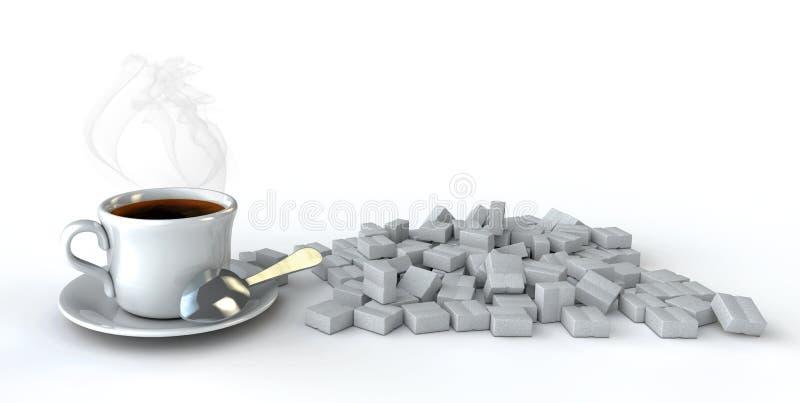 lock för kaffe 3d på tabellen med ett socker på en wihtebakgrund vektor illustrationer