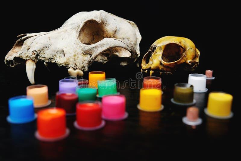 Lock för tatueringfärgpulver med kulört på bakgrunden av en skalle arkivbild