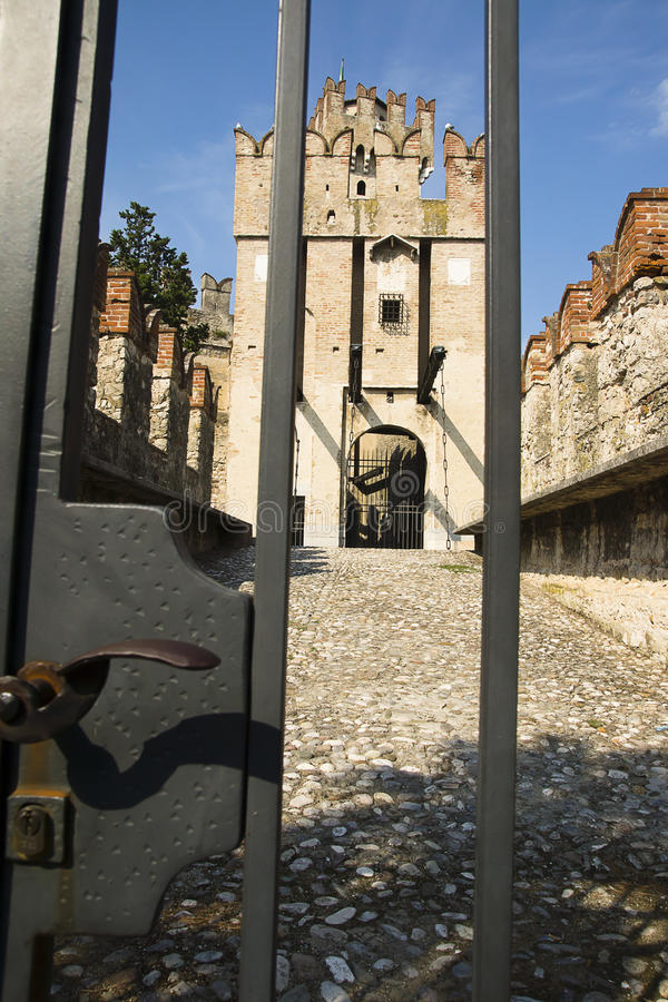 Lock gates Scaliger Castle, Sirmione, Italy royalty free stock images