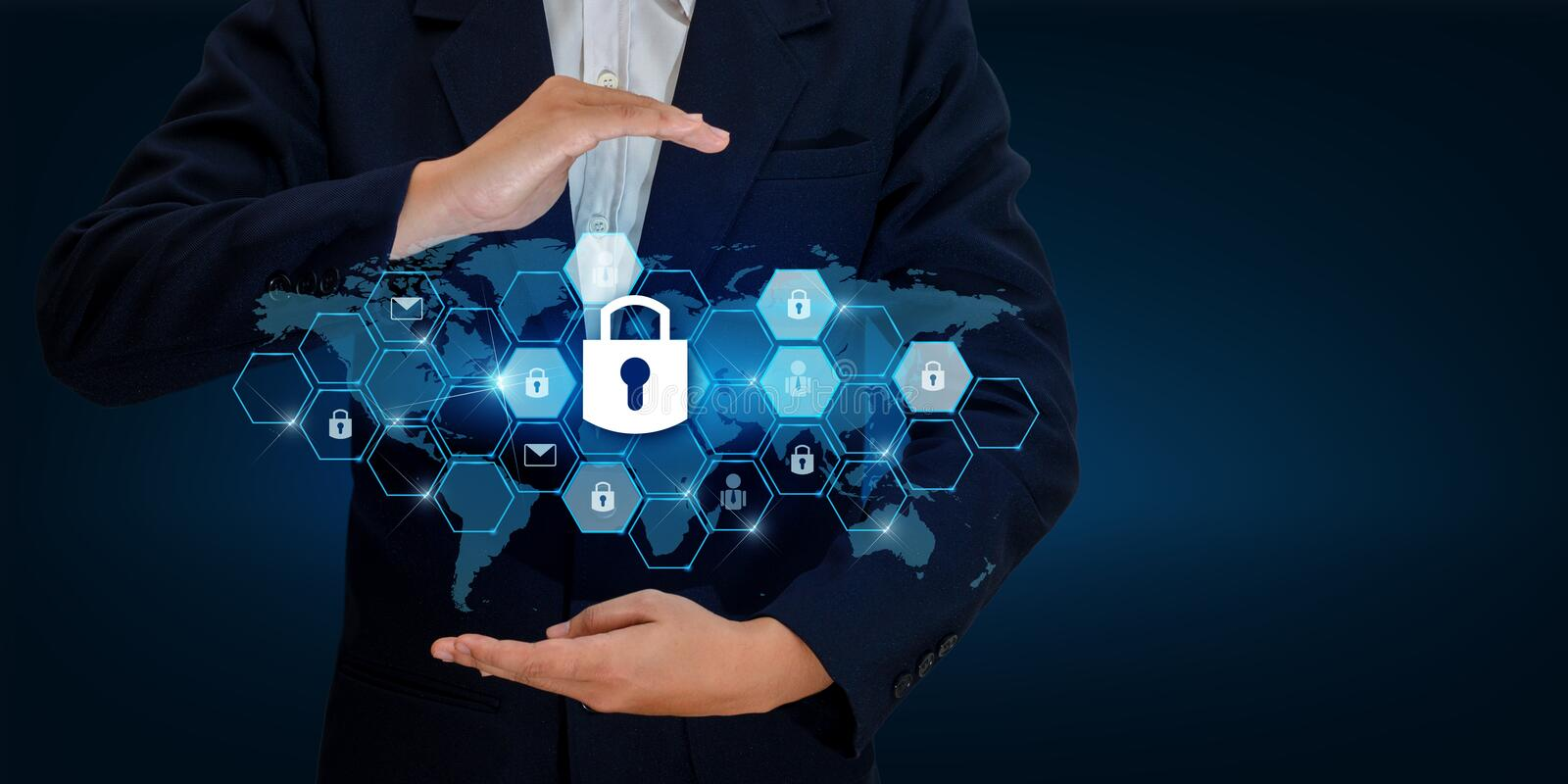 Lock In the hands of a businessman Shield the shield to protect the cyberspace.Space input data Data Security Business Internet Co royalty free stock photo