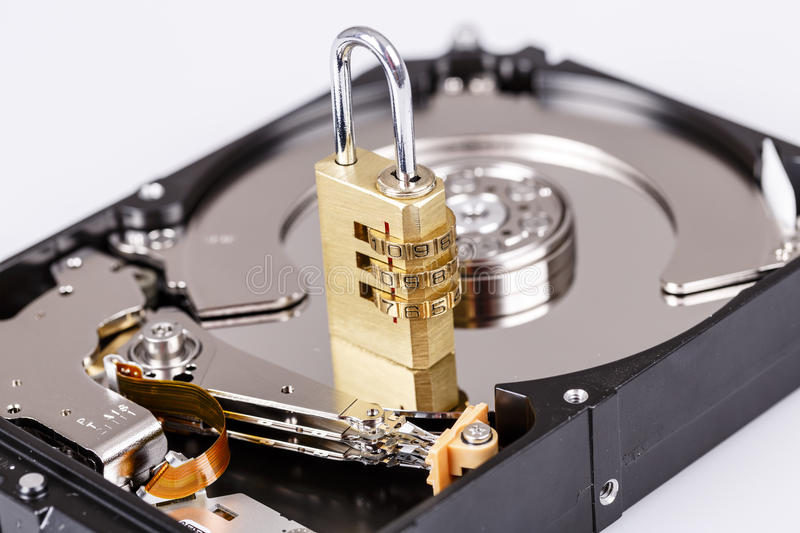 Lock on hdd or harddrive, part of computer, cyber security concept. Data privacy royalty free stock image