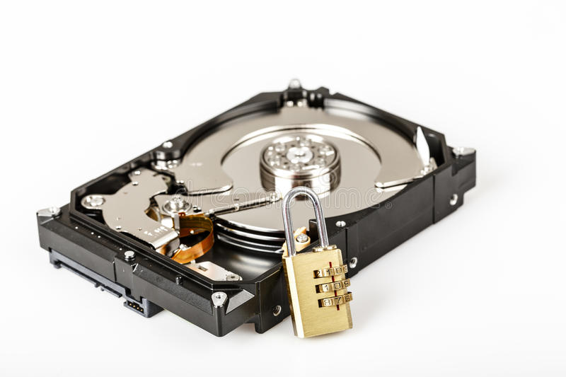 Lock on hdd or harddrive, part of computer, cyber security concept. Data privacy stock image